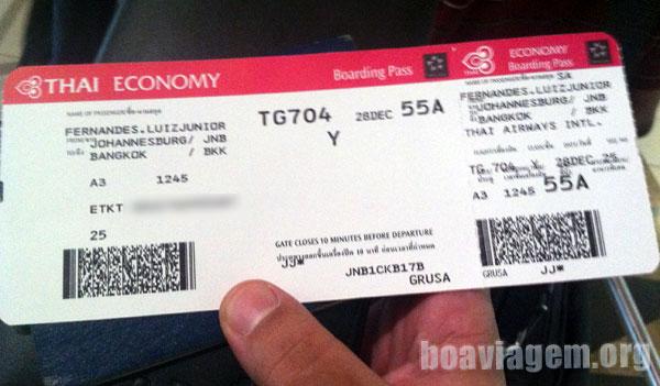 Boarding Pass da Thai na mão, bora pra BKK