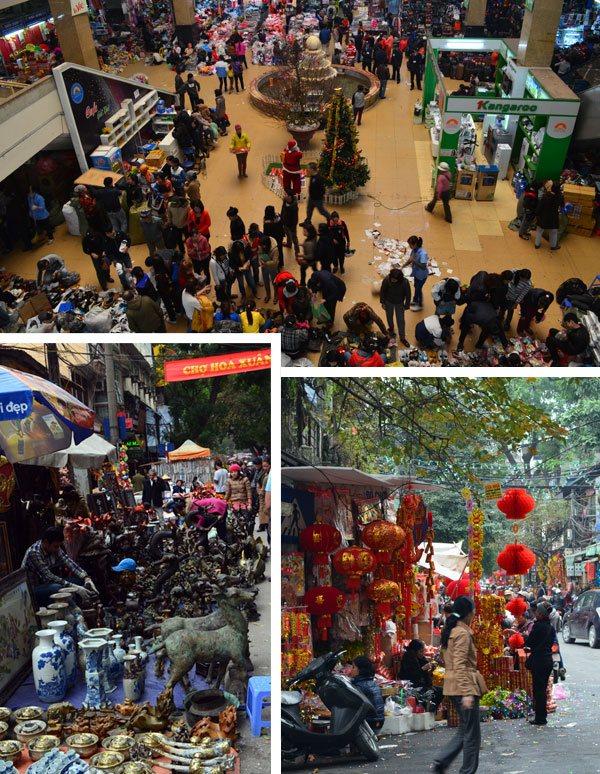 Comércio intenso em ruas, mercados e centros comerciais