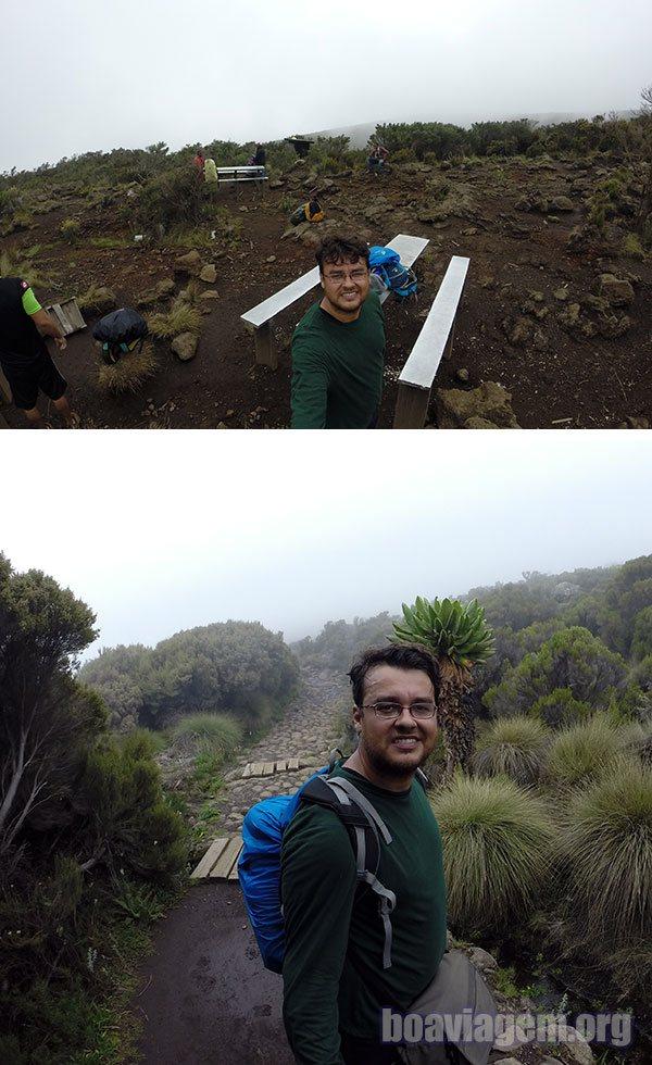No meio do segundo dia de caminhadas rumo ao topo do Kilimanjaro