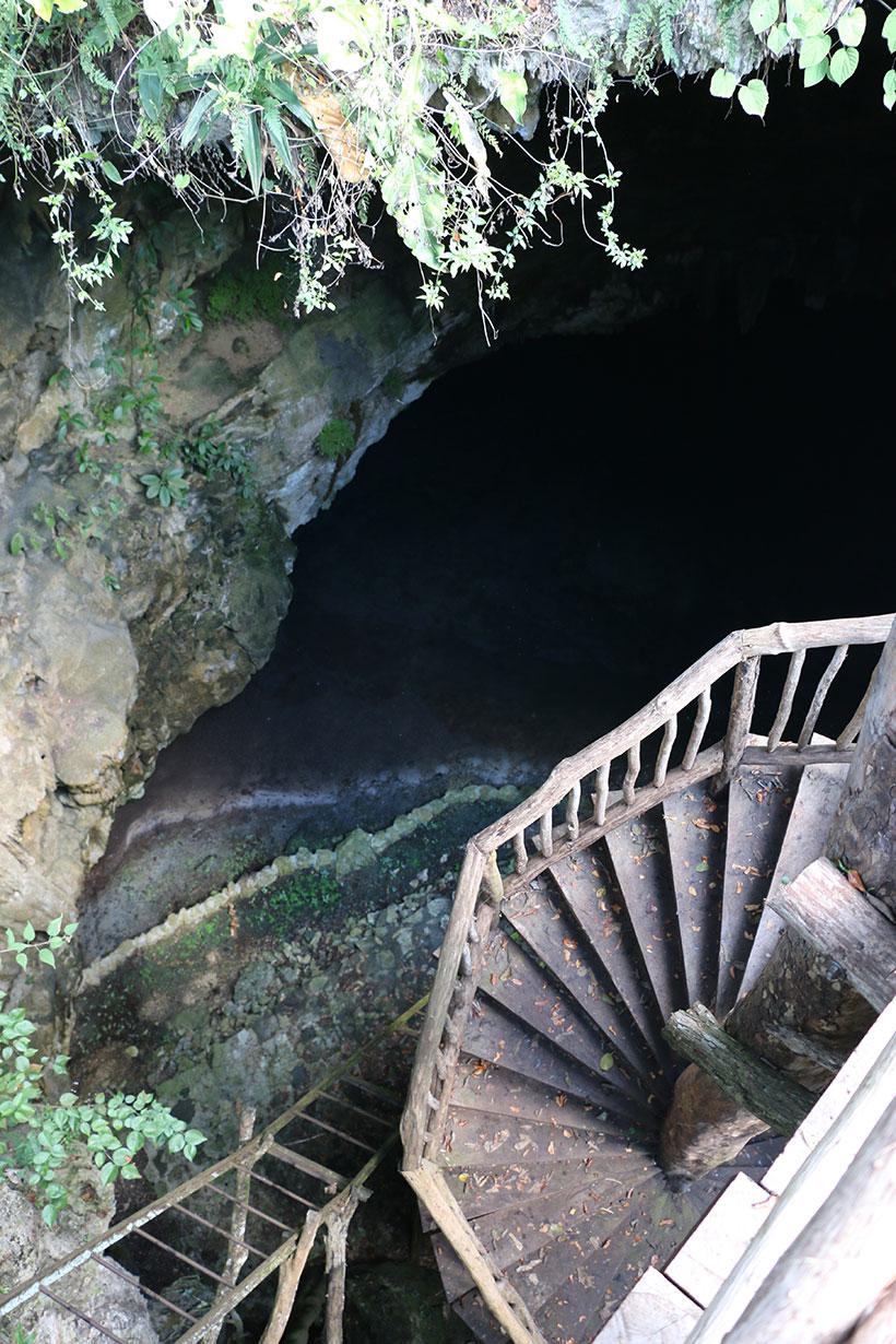 Escadarias para descer até as águas do cenote