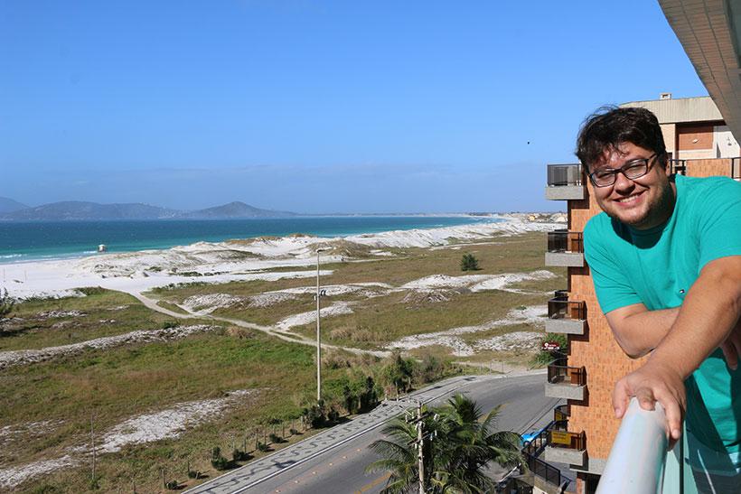 Vista espetacular na sacada do Mandai Hotel de Cabo Frio