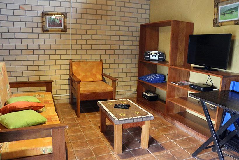 Sala de estar de um dos apartamentos da Villa Seychelles