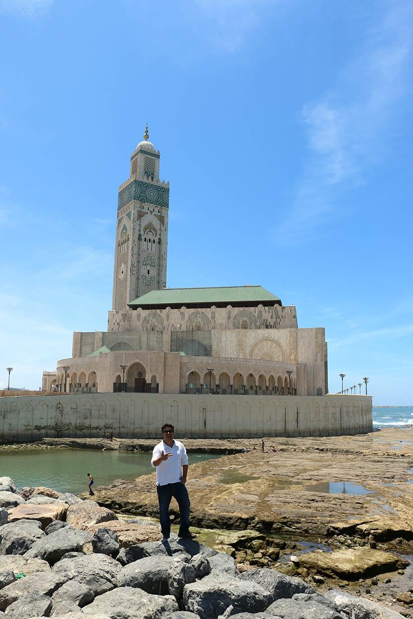 Visitando a Mesquita Hassan II numa conexão em Casablanca